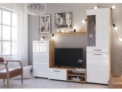 Гостиная Асти Дуб бунратти-Белый глянец