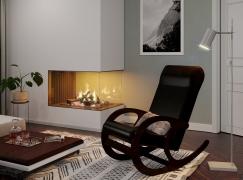 Кресло-качалка Венге-кожзам Коричневый