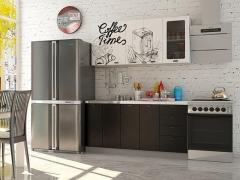 Кухня Кофе Тайм 1,6 МДФ белый с фотопечатью-черная шагрень
