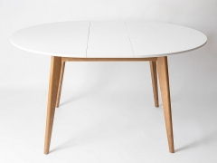 Стол обеденный раздвижной Орион плюс 1150 Дуб натуральный-Белая эмаль