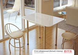 Стол обеденный с принтом белый-глянец